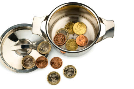 a pot with a few euro coins symbol photo for sovereign debt and financial crisis Stock Photo - 17122206