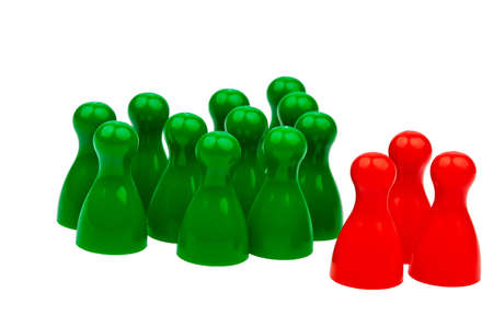 quota: red and green pawns  unlike in the team  quota for women in the workplace