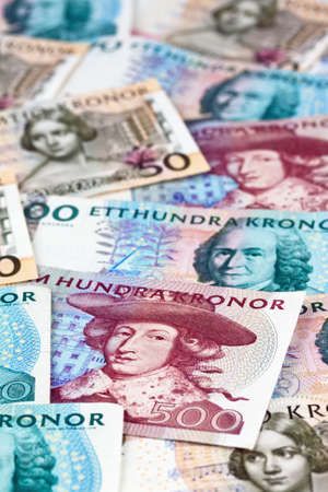 seem: swedish krona, the currency of sweden  several bills  Stock Photo