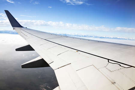 airfoil: wing of a passenger aircraft taking off