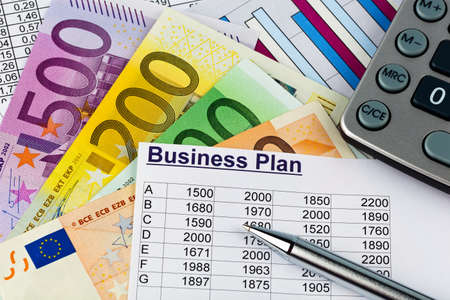 reestablishment: a business plan for starting a business  ideas and strategies for self-employment  euro banknotes and calculator