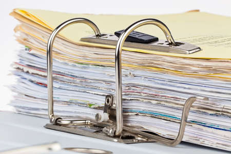 bureaucratic: a file folder with documents and documents  storage contracts  Stock Photo