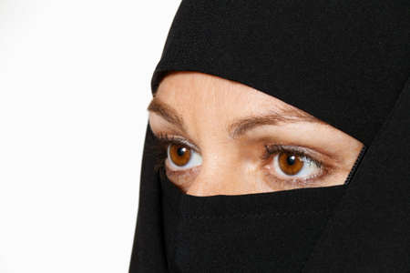 veiled: symbolfoto islam  muslim burqa is with obscured
