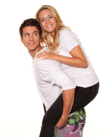 een lachende jonge paar heeft plezier en vreugde Stockfoto
