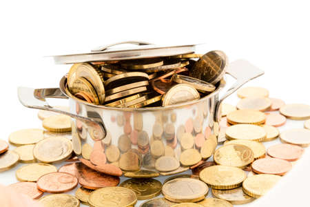 subsidize: a pot filled with euro coins photo icon for funding Stock Photo