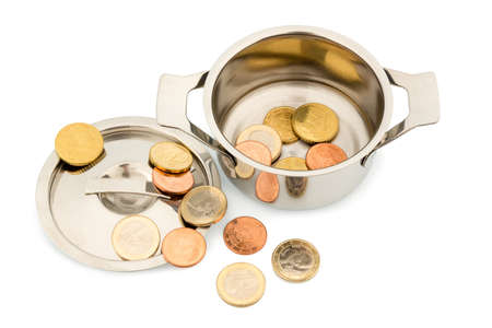 budgetary: a pot with a few euro coins symbol photo for sovereign debt and financial crisis Stock Photo