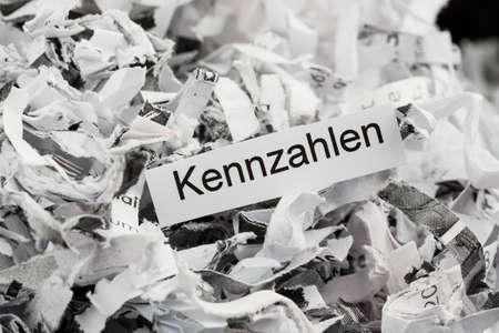 shred: shredded paper with keyword ratios, symbolic photo for data destruction, business and economic development Stock Photo