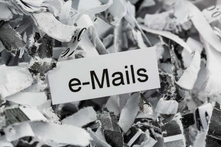 shredded paper tagged with e-mail, photo icon for data destruction, email and data flooding Stock Photo - 17633936