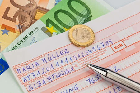 household money: a number schin for transfer or cash payment with iban and bic code from austria