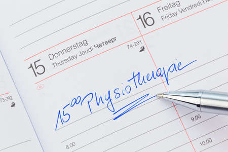 a date is entered in a calendar  physiotherapy Stock Photo - 17633707