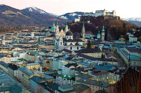 a city view of the city of salzburg in austria    old town and fortress hohensalzburg photo