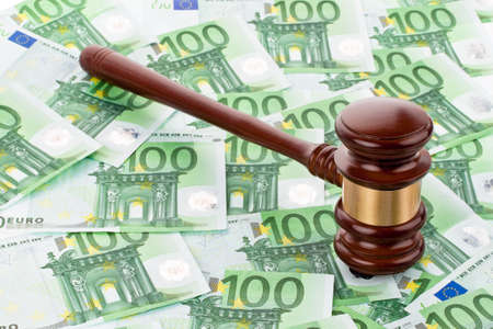 tax law: a gavel and euro banknotes  legal costs and budget