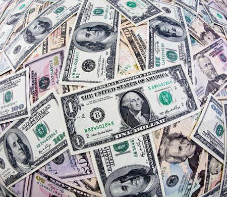 u s a: many dollar bills of u s  currency