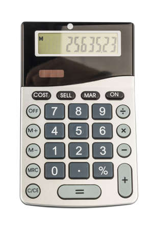 mathematically: a calculator is located on a white background Stock Photo