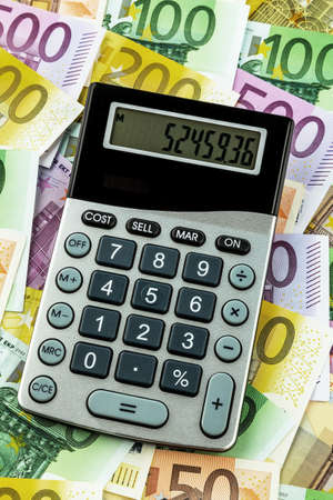 mathematically: stethoscope and euro banknotes  symbol photo for costs, revenue, taxes Stock Photo