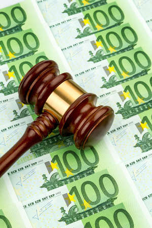 gavel and euro banknotes  symbol photo for costs in court of law and auctions Stock Photo - 18031405