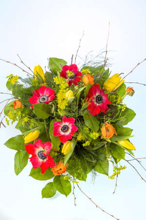 name day: a colorful bouquet of spring flowers on a white background  Stock Photo