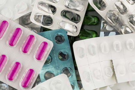 tablets in blister pack, photo icon for health, medicine and pill addiction Stock Photo - 18031340
