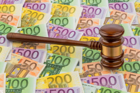 gavel and euro banknotes  symbol photo for costs in court of law and auctions Stock Photo - 18031347