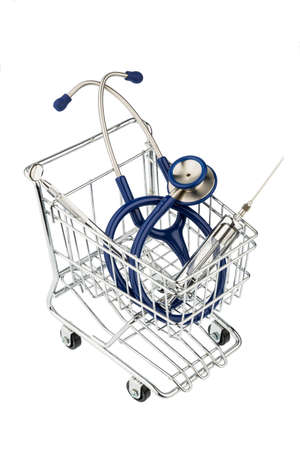 pracitioner: stethoscope and cart, photo icon for the medical profession and practice acquisition