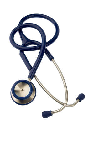 intercept: stethoscope against white background, icon for the medical profession and diagnosis Stock Photo