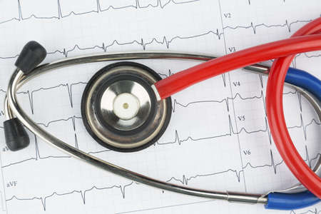 blood sport: stethoscope and electrocardiogram, symbolic photo for heart disease and diagnostics