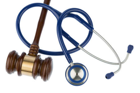 diagnostic tool: gavel and stethoscope, symbol for bungling and medical error Stock Photo