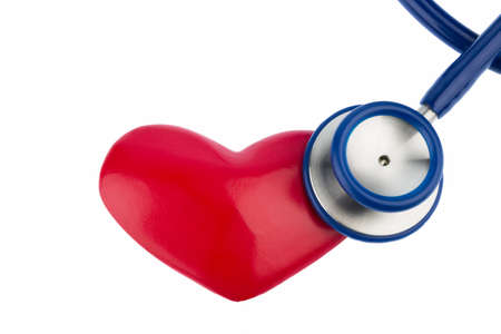 stethoscope and a heart symbol for cardiovascular risk and heart attack
