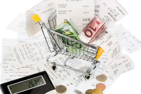 purchasing power: cart, bills and receipts, symbolic photo for purchasing power, consumption and inflation