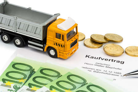 a purchase contract for the new trucks  invest in new vehicles has cost advantages  Stock Photo - 18055229