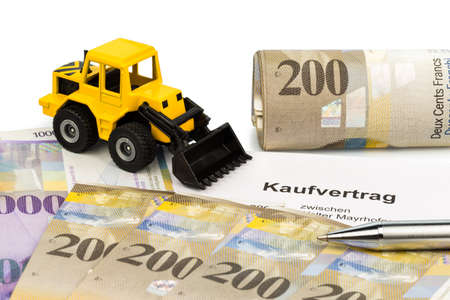 a purchase contract for new excavator  invest in new vehicles has cost advantages  with swiss francs photo