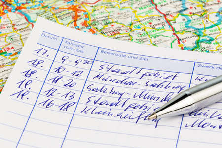 log book: log book for a car  for commuter tax and revenue office