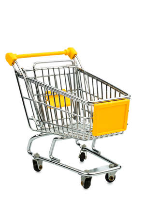 consumerist: cart in front of white background, symbol photo for consumption and purchasing power crisis