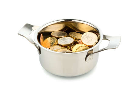 budgetary: a cooking pot, to häfte filled with euro coins photo icon on debt and financial needs Stock Photo