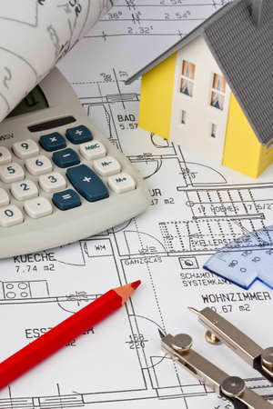 single familiy: blueprint for a house  drawings and plans of an architect