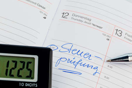 entered: a date is entered in a calendar  tax audit