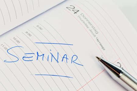 a date is entered in a calendar  seminar