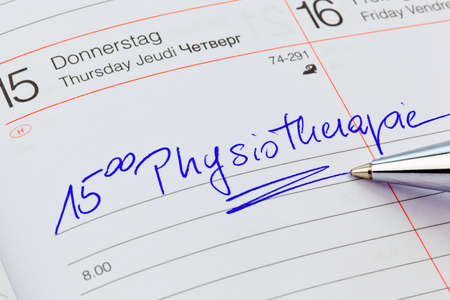therapie: a date is entered in a calendar  physiotherapy