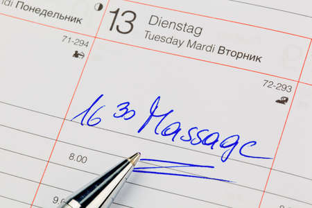 a date is entered in a calendar  massage Stock Photo - 18047936