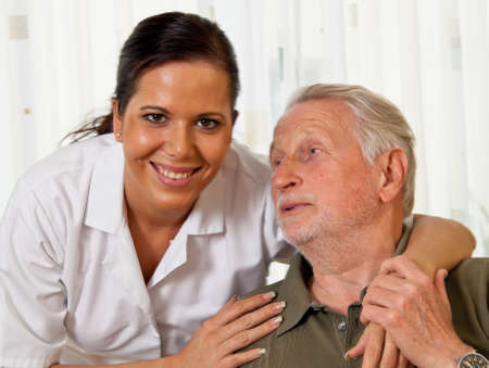 nurse station: a nurse in elderly care for the elderly in nursing homes