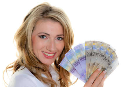 franc: woman with swiss franc banknotes