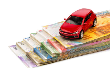 swiss franc: one car, swiss franc banknotes  cost of purchasing a car, petrol, insurance and other car costs