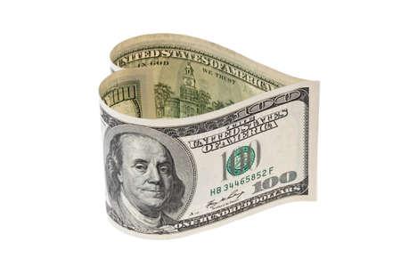 100 bill in heart shape