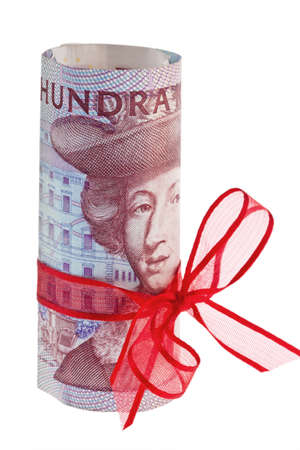 swedish: swedish krona, the currency of sweden  with red stitch