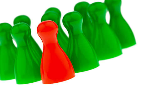red and green pawns  manager and leader of the team Stock Photo - 18597895