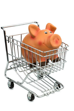 consumerist: a piggy bank in a shopping cart photo icon for shopping, inflation and the economy