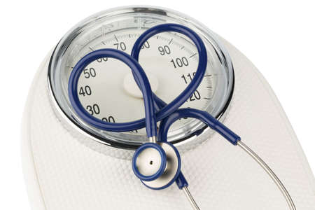 acoustically: stethoscope and balance symbol photo for weight, diet and heart disease