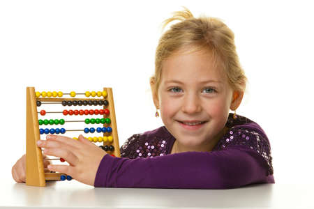 mathematically: a small school is expecting a child abacus  Stock Photo