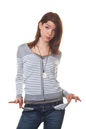 burnt out: young teenage girl shows the empty pants pockets