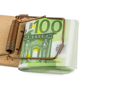 mousetrap: many euro bank notes in mousetrap  symbolic for debt and debt with credit  Stock Photo
